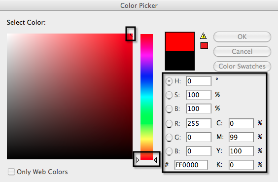 Figure 1: RGB Color Mode - Pure Red Hue