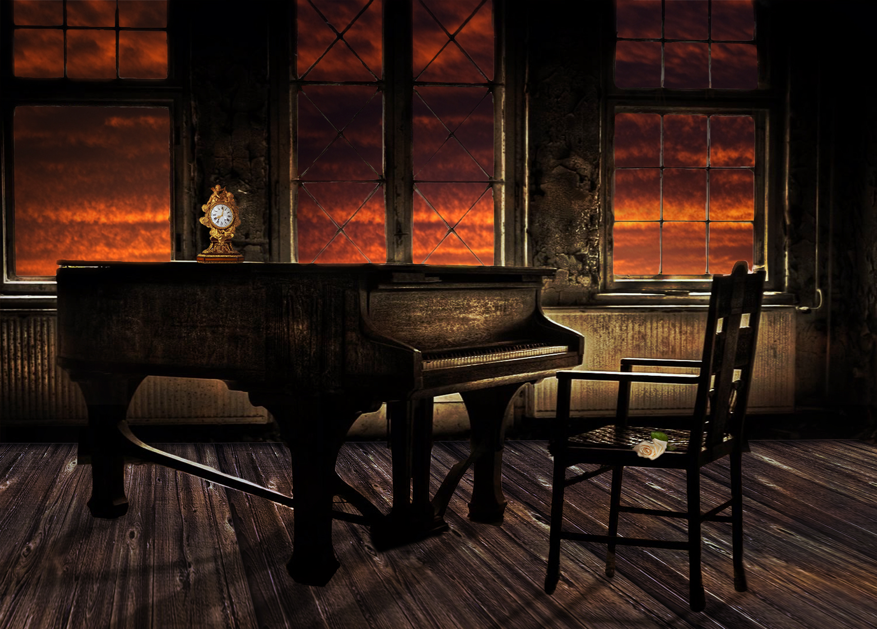 grand piano in empty room again sunset windows
