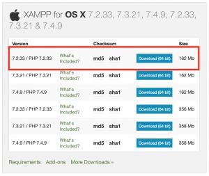 install XAMPP version 7.2.33