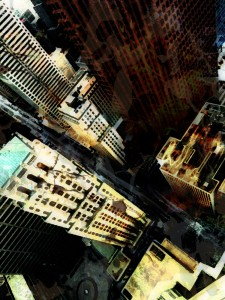 painterly interpretation of dark, decayed city