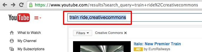 creative commons youtube search