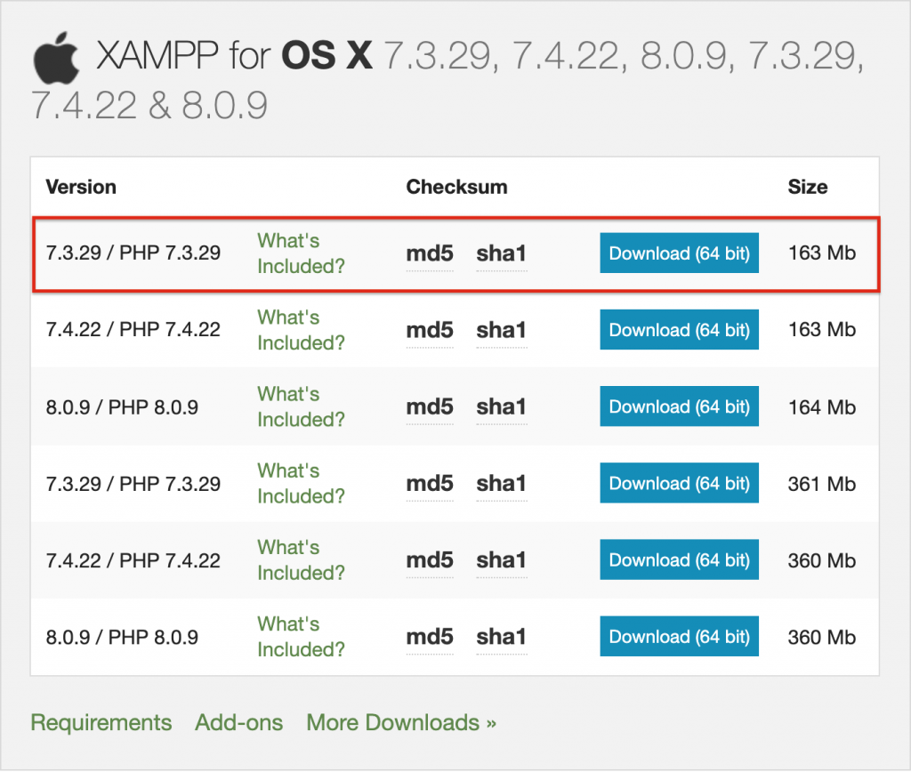 XAMPP Mac php version 7.3